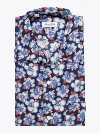 Salvatore Piccolo Camp-Collar Shirt Printed Navy Blue 1