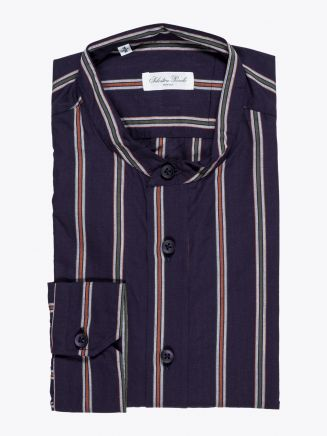 Salvatore Piccolo Grandad-Collar Shirt Striped Navy Blue 1