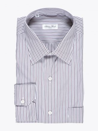 Salvatore Piccolo Regular-Fit Striped Cotton Poplin Claret 1