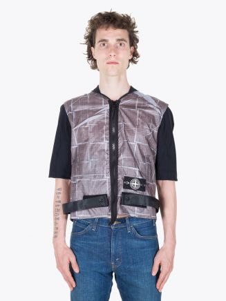 Stone Island 444J2 Vest Paper Poly SI House Check Grid Grey Full View