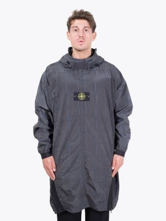 Stone Island | 709J4 SI House Check Jaquard Hooded Cape Grey Front