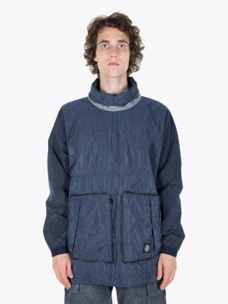 Stone Island Anorak SI House Check Jaquard On Nylon Metal Black Watro Packable Dark Blue Full View