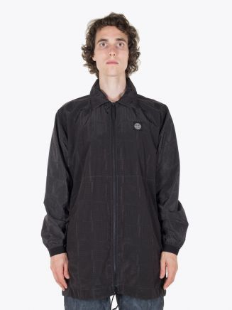 Stone Island Coat SI House Check Jaquard On Nylon Metal Black Watro Charcoal Full View