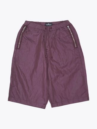 Stone Island Shadow Project L0107 Wide Shorts with Drop Pocket Dark Burgundy Front