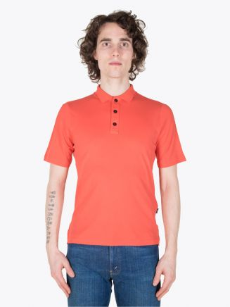 Stone Island Shadow Project Polo Shirt Fine Jeresy CO Pigment Coral Full View