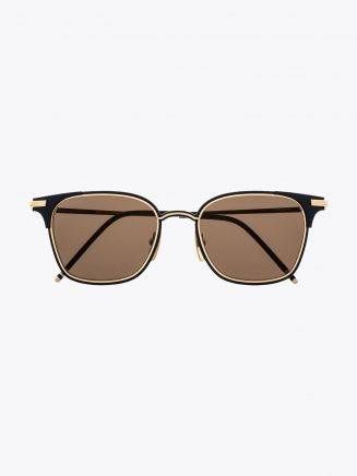 Thom Browne TB-107 Sunglasses Matte Navy - 18K Gold Front