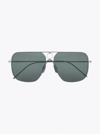 Thom Browne TB-114 Aviator Sunglasses Silver / Grey Enamel / Grey 1