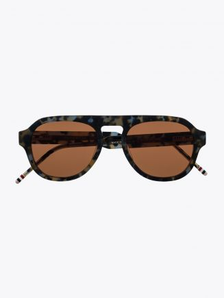 Thom Browne TB-800 Sunglasses Shiny 18K Gold - Navy Front
