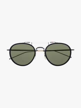 Thom Browne TB-815 Aviator Sunglasses Black / Black Iron / White Gold Front View