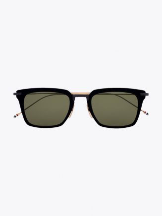 Thom Browne TB-916 Angular Sunglasses Black / Black Iron / White Gold 1