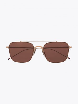 TB120 Sunglasses - Thom Browne aviator metal gold/silver front view