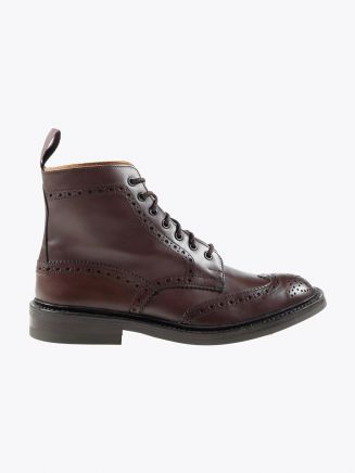 Tricker's Dainite Stow Brogue Boot Espresso Burnished Side View