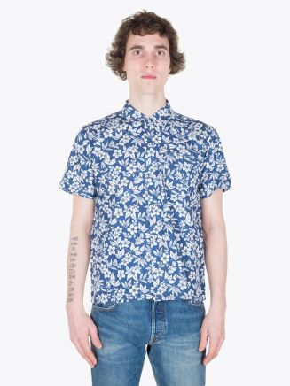 Universal Works Road Shirt in Hawaiian Poplin Navy Full View