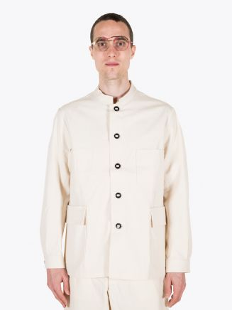 A Vontade Stand Collar Atelier Cotton Jacket Natural 1