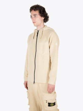 Stone Island 62940 Hooded Full-Zip Sweatshirt Natural Beige