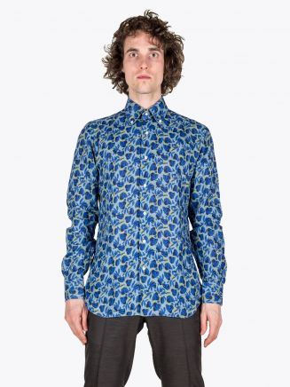 Barba Napoli Shirt Slim-Fit Button-Down Collar Floral-Print Linen Blue