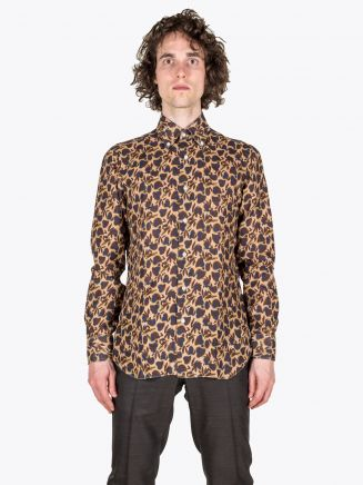 Barba Napoli Shirt BD Collar Floral-Print Linen Brown