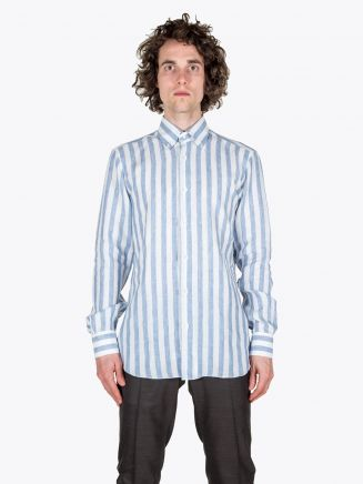 Barba Napoli Shirt BD Collar Linen Light Blue