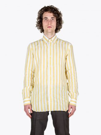 Barba Napoli Shirt BD Collar Linen Yellow