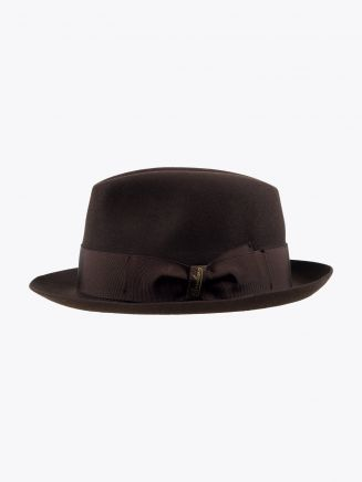 Borsalino Hat Small-Brimmed Alessandria Rabbit-Felt Dark Brown
