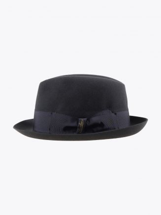 Borsalino Hat Small-Brimmed Alessandria Rabbit-Felt Anthracite Dark Grey