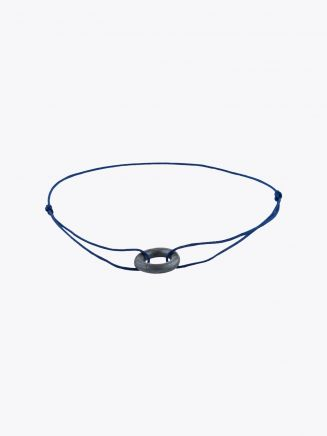 Barbara Zuna-Kratky Smooth Silver Blackened Ring 13 Cord Bracelet Indigo