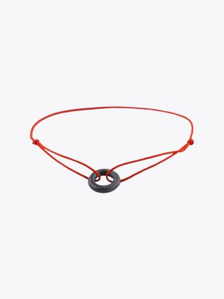Barbara Zuna-Kratky Smooth Silver Blackened Ring 13 Cord Bracelet Red