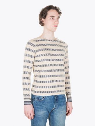 Double RL Boat Neck Pullover Cream/Blue