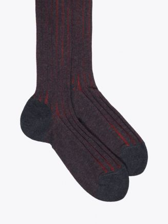 Gallo Long Socks Twin Ribbed Cotton Anthracite / Red
