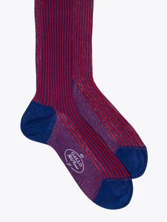 Gallo Long Socks Twin Ribbed Cotton Red / Blue