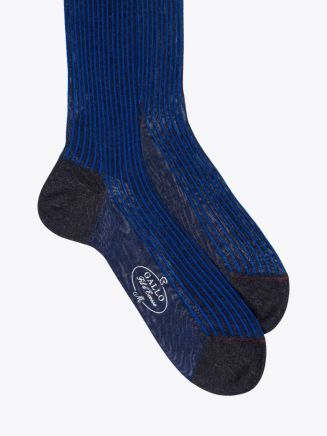 Gallo Long Socks Twin Ribbed Cotton Blue / Anthracite