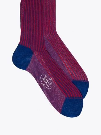 Gallo Short Socks Twin Ribbed Cotton Red / Blue