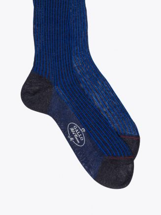 Gallo Short Socks Twin Ribbed Cotton Blue / Anthracite