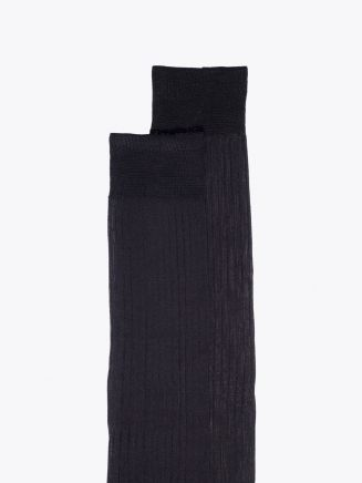 Gallo Ribbed Cotton Long Socks Anthracite