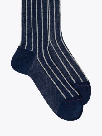 Gallo Long Socks Twin Ribbed Cotton Blue / Silver