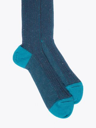 Gallo Long Socks Twin Ribbed Cotton Turquoise