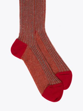 Gallo Long Socks Twin Ribbed Cotton Red