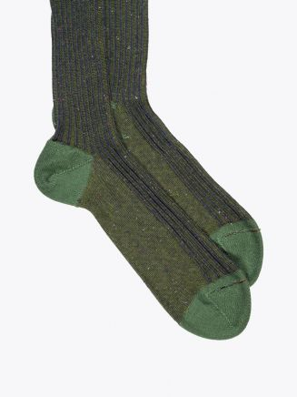 Gallo Long Socks Twin Ribbed Cotton Green
