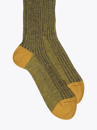 Gallo Long Socks Twin Ribbed Cotton Yellow