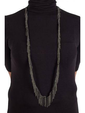 Goti CN1171W Silver Necklace w/Cotton Black