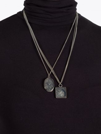 Goti CN724 Silver Double Necklace w/Medals