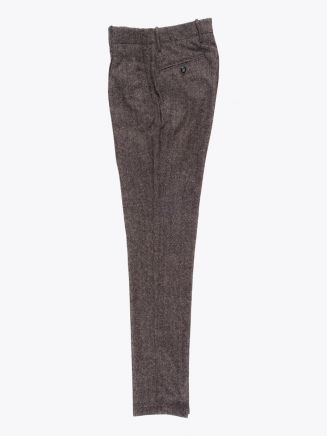 Giab's Archivio Verdi Wool Pleated Pants Herringbone Brown