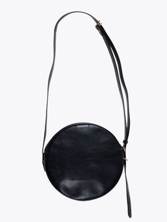 Il Bisonte A2664/M Cowhide Leather Round Bag Black