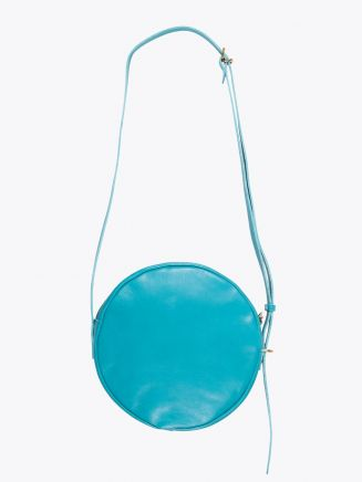 Il Bisonte A2664/M Cowhide Leather Round Bag Turquoise