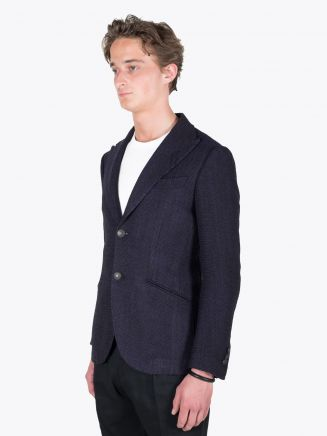 Maurizio Miri Keanu Full Canvas Wool and Silk Blazer Blue