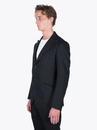 Maurizio Miri Quentin Full Canvas Linen and Wool Suit Jacket Black