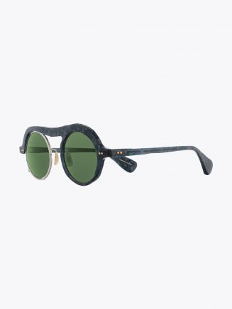 Masahiromaruyama Monocle MM-0051 No.2 Sunglasses Marble Blue / Silver
