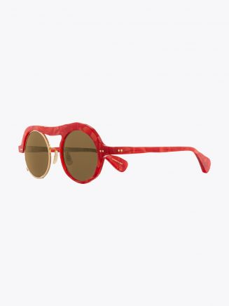 Masahiromaruyama Monocle MM-0051 No.3 Sunglasses Marble Red / Gold