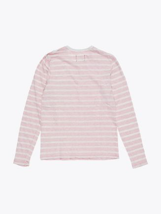 Reigning Champ Long Sleeve Pocket Tee Heather Ash/Red Stripe