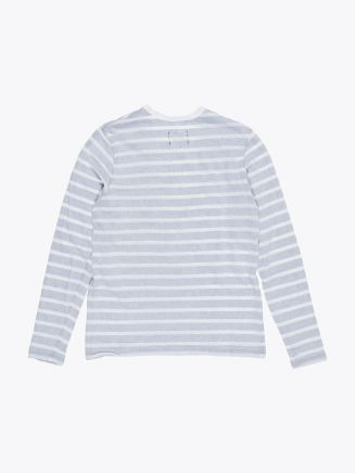 Reigning Champ Long Sleeve Pocket Tee White/Navy Stripe
